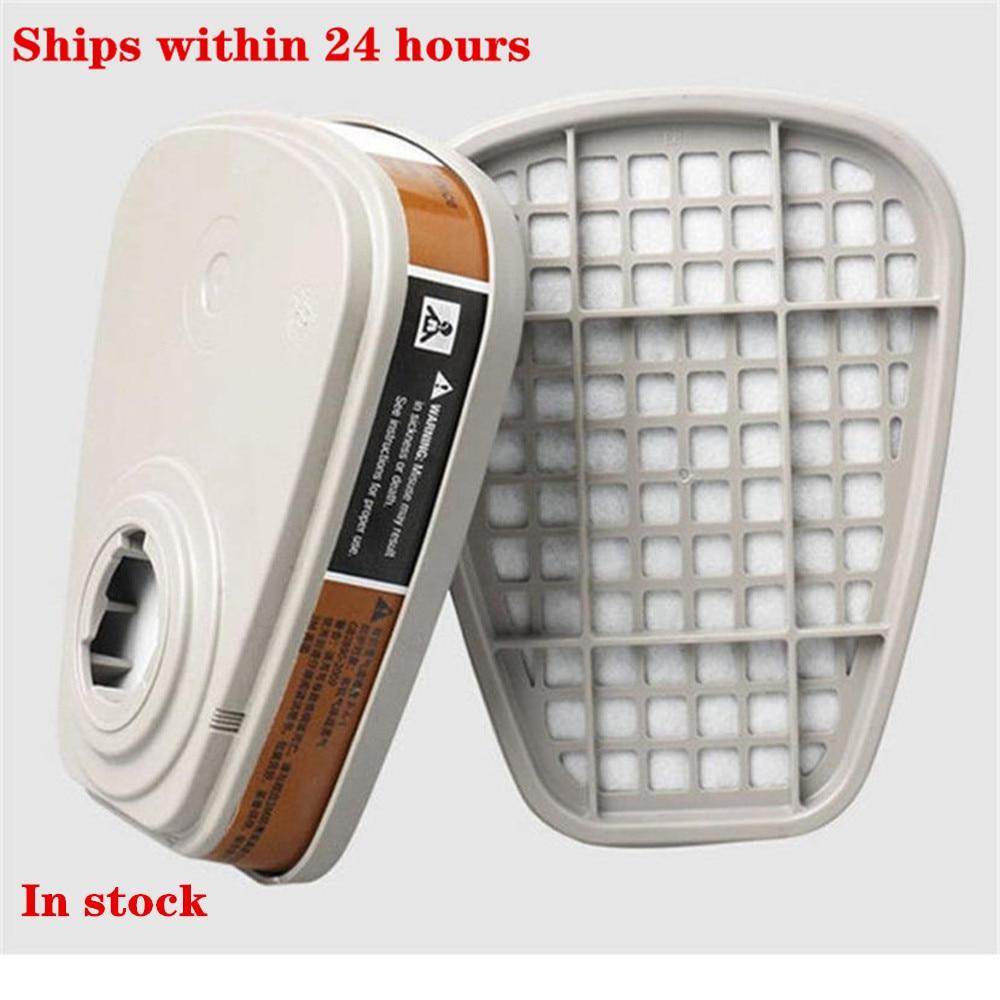 Activated Carbon Filter Box 10pcs 6001cn Organic Vapor Respirator Filter Cartridge For 3M 7502 6200 Gas Mask High Quality