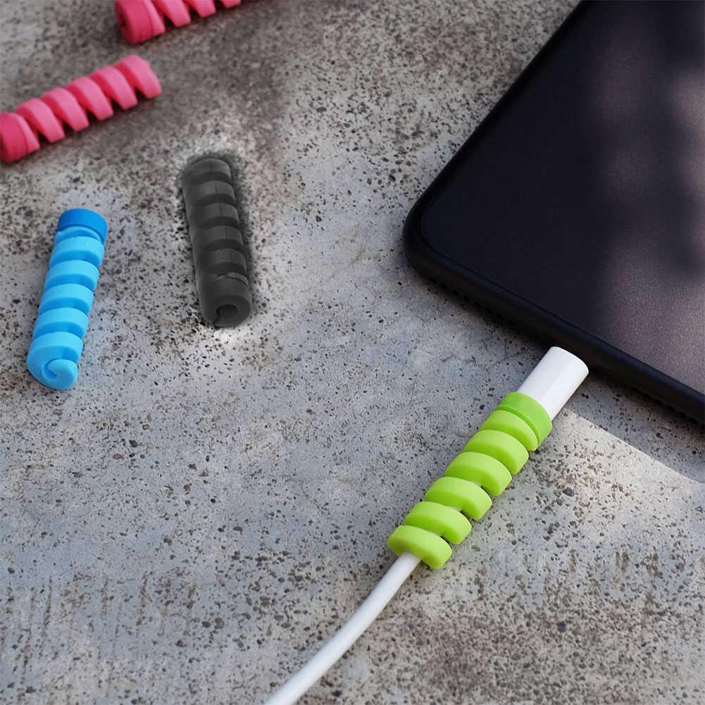 1/4 個ケーブルプロテクターシリコーンボビンワインダーワイヤコードオーガナイザーカバー Apple の Iphone の Usb 充電ケーブルコードパーティーギフト