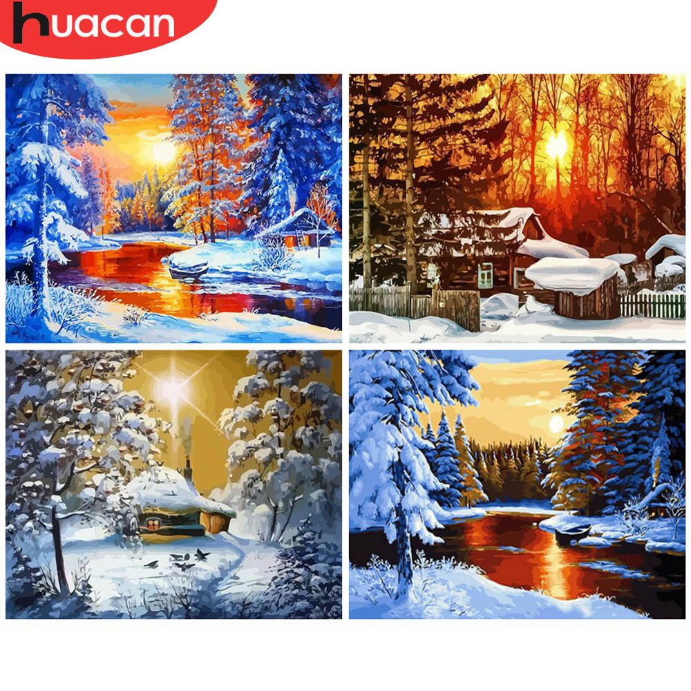 HUACAN Painting By Numbers Winter Scenery Acrylic Drawing Canvas Picture Snow Home Decoration Art Gift