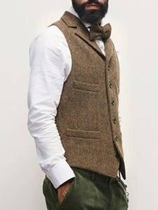Suit Vest Waistcoat Slim-Fit Casual Tweed Wedding-Groomsmen Business Lapel Men's Notch