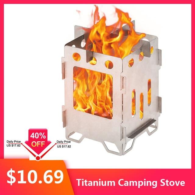 2019 titanio fogón plegable para acampar estufa de madera al aire libre leña Backpacking estufa de cocina quemador de Gas al aire libre Camping