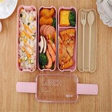 900ml 3 camadas bento caixa de almoço eco-amigável recipiente de alimentos trigo palha material microondas louça lancheira 2021 novo