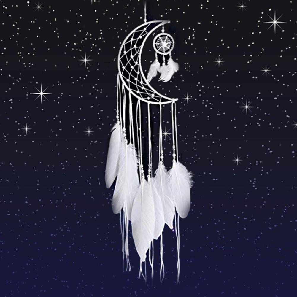 New Indian Style Dreamcatcher Moon Handmade Wind Chimes Wall Ornament Girls Room Decoration Feather Dream Catcher(China)