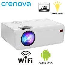 Crenova mini projetor led a13 (android opcional a13c) 1280*720p com wifi bluetooth 3d vídeo projetor suporte 4k cinema em casa