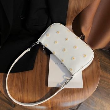 Small Armpit Bag PU Leather Crossbody Bags For Women 2020 Summer Small Daisies Design Shoulder Handbags Cross Body Bag