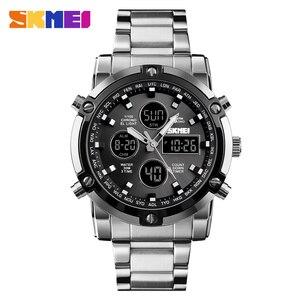 Image 1 - אופנה גברים של שעוני יד SKMEI שעון ספורט דיגיטלי צמיד 3 זמן ספירה לאחור Mens שעון נירוסטה שעונים זכר עסקים