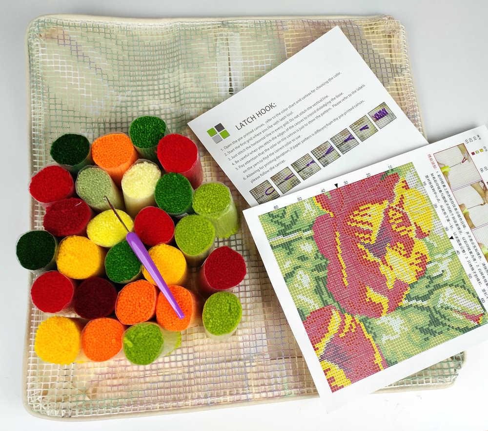 ラッチフックキットteddy loveクッションカバー事前印刷されたキャンバスdiy糸編み工芸枕ケースサイズ 43x43 センチメートルソファベッド枕