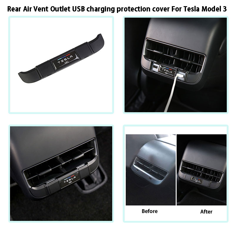 For Tesla Model 3 Rear Air Vent Outlet USB Charging Protection Cover 2018-2019