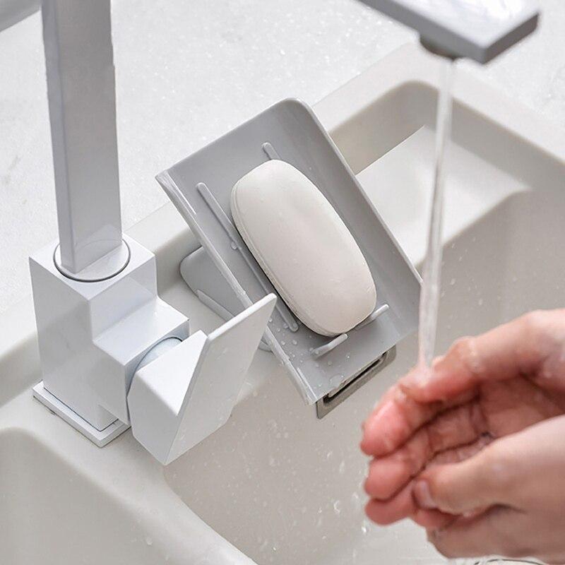 Creative Soap Drain Rack Plastic Soap Box Sponge Holder Kitchen Sponge Drying Rack Bathroom Cleaning Brush Holder