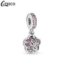 CUTEECO 2019 New Pink Romantic Peach Flower Enamel DIY Charms Dangle Fits Original Pandora Charm Bracelet For Women Jewelry