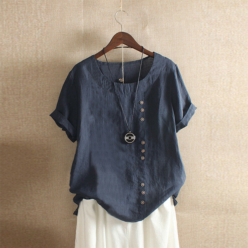 2020 Gothic Summer Women Cotton Linen Baggy Blouse 3
