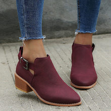 Spring Summer Women Winter Boots Hoollow Out Ankle Boots Women Pointed Toe Square Heel Ladies Shoes High Heels Botas Mujer(China)