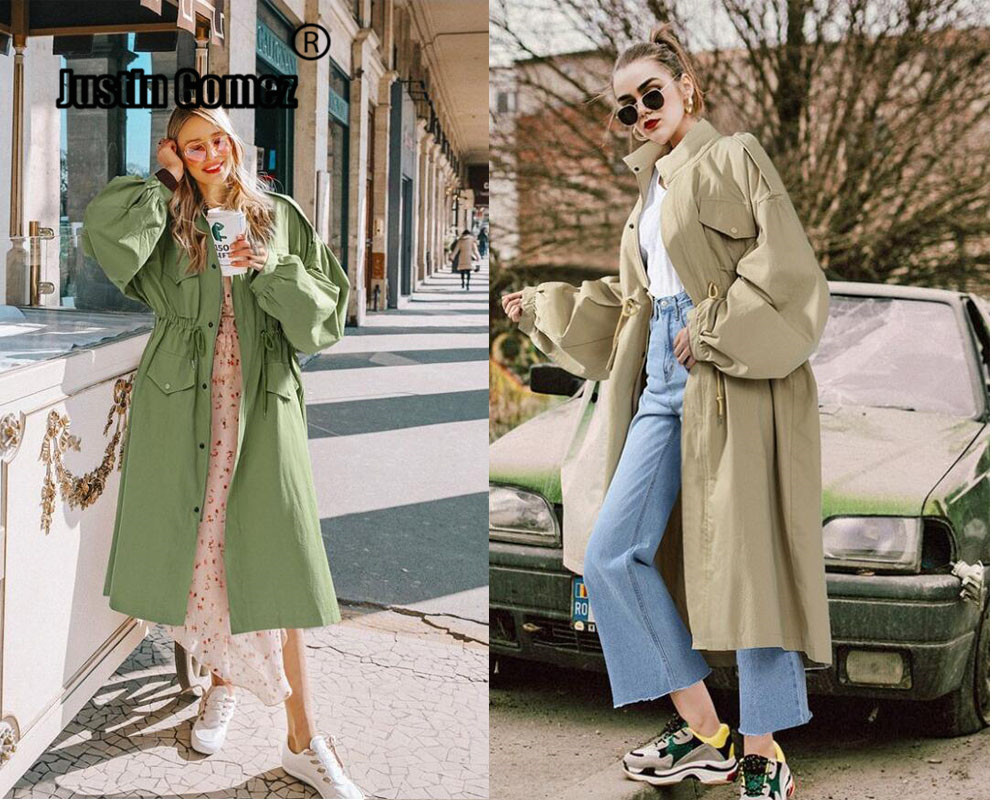 Oversized Loose New 2019 Women fashion windbreaker plus size slim waist Stylish Women trench coats