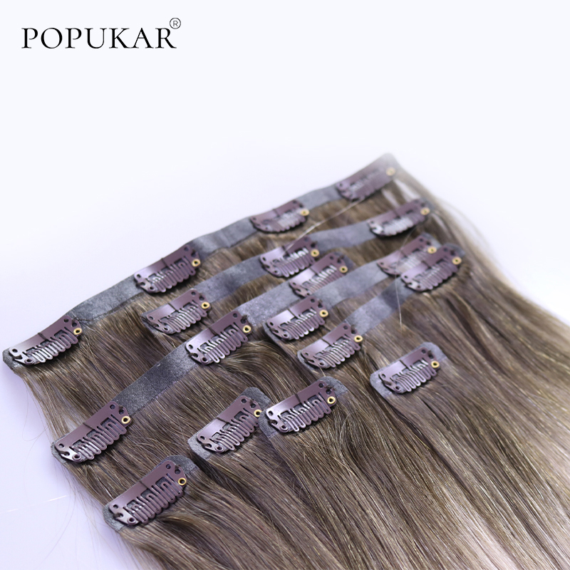 Popukar Remy Human Double Drawn Russian Clip In Remy Hair Extensions 100% Human Hair PU Clip In Silky Straight