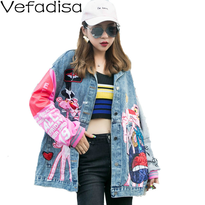 Vefadisa Autumn Cartoon Streetwear Denim Coat Single Breasted Spliced Coat Turn-down Collar Loose Coat Woman 2019 QYF562