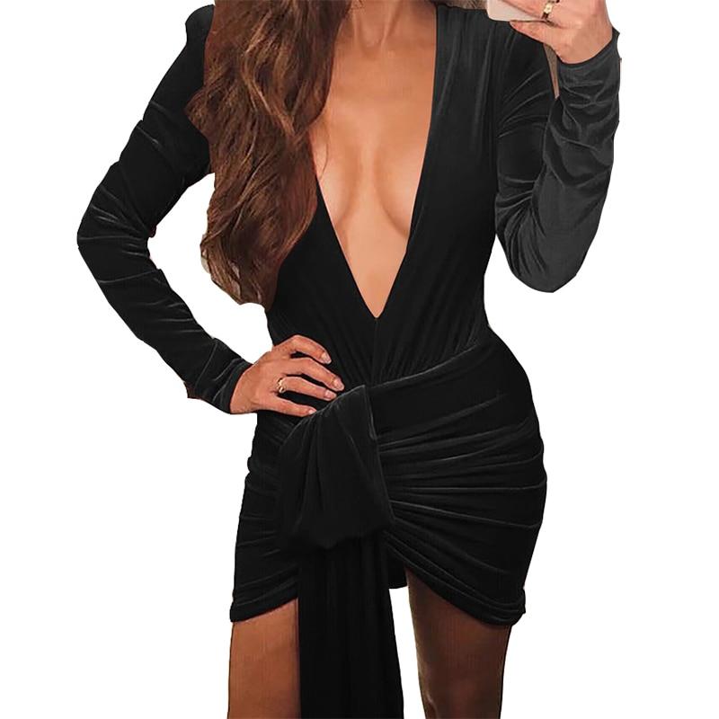 Sexy Plunging V-neck Bodycon Mini Dress Spring 2019 New Women Velvet Dress Club Party Bandage Dress Skinny Femme Irregular M0397