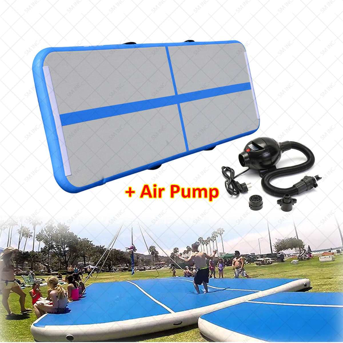 GoFun AirTrack Inflatable Gymnastics Tumbling Air Track Floor Trampoline Electric Air Pump for Home Use/Training/Cheerleading