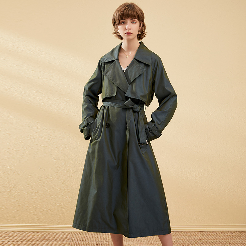 autumn winter new arrival   trench   coat for women turn-down collar double-breasted belt long gradient color england style coat x1