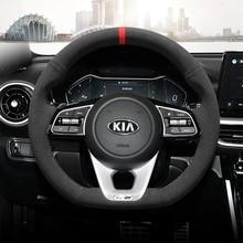 Hand genäht wildleder leder auto lenkrad abdeckung für Kia K3 K2 KX3 K5