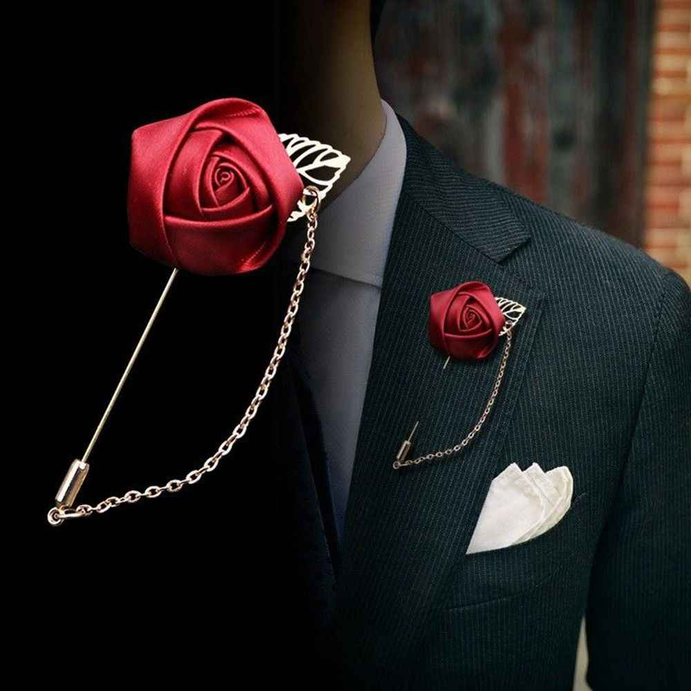 1 pc Fashion Male Suits Gold Leaves Roses Brooches Corsage Collar Flowers Long Needle With Chain Handmade Lapel Pin Brooch