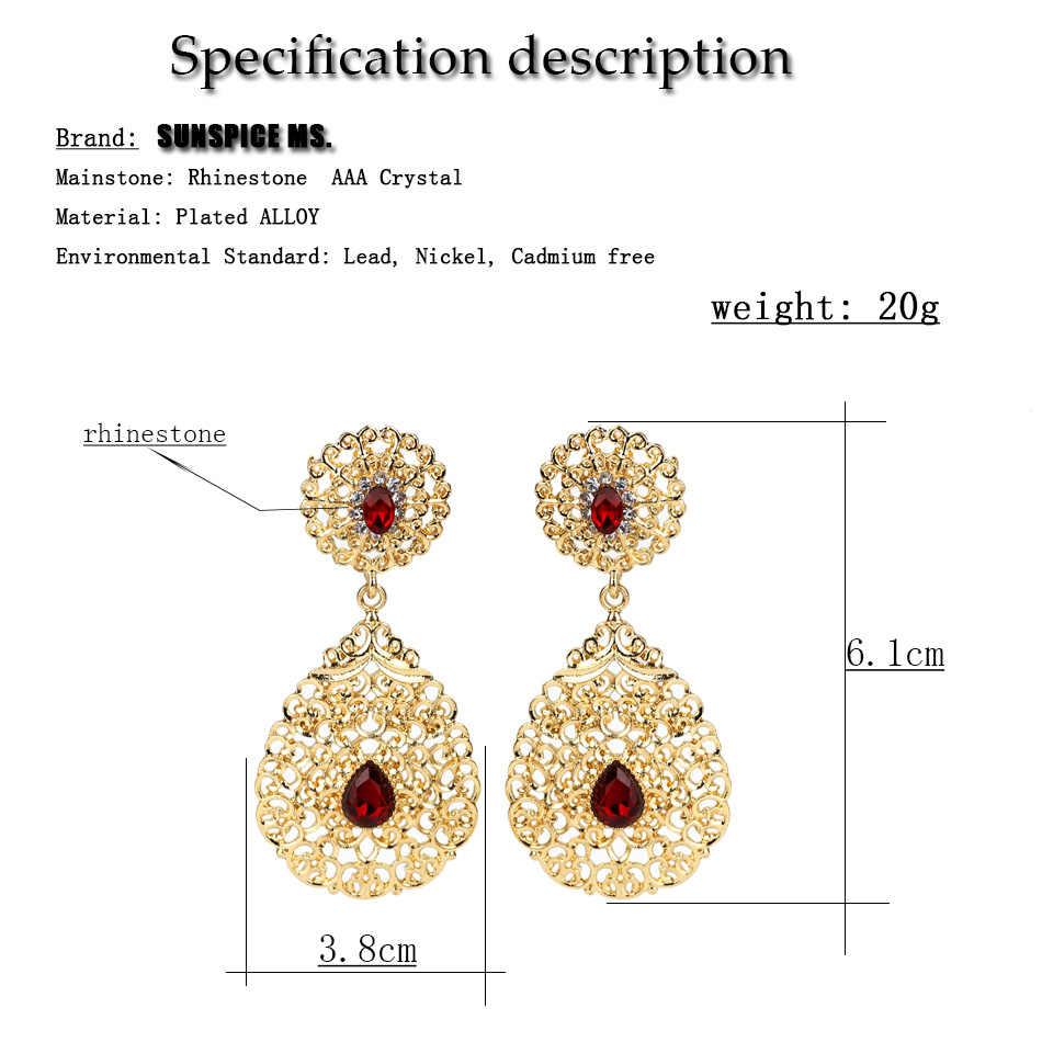 SUNSPICE MS złoty kolor wiszące kolczyki w kształcie kropli wody dla kobiet maroko etniczne biżuteria ślubna Hollow kwiat z kryształkiem prezenty ślubne