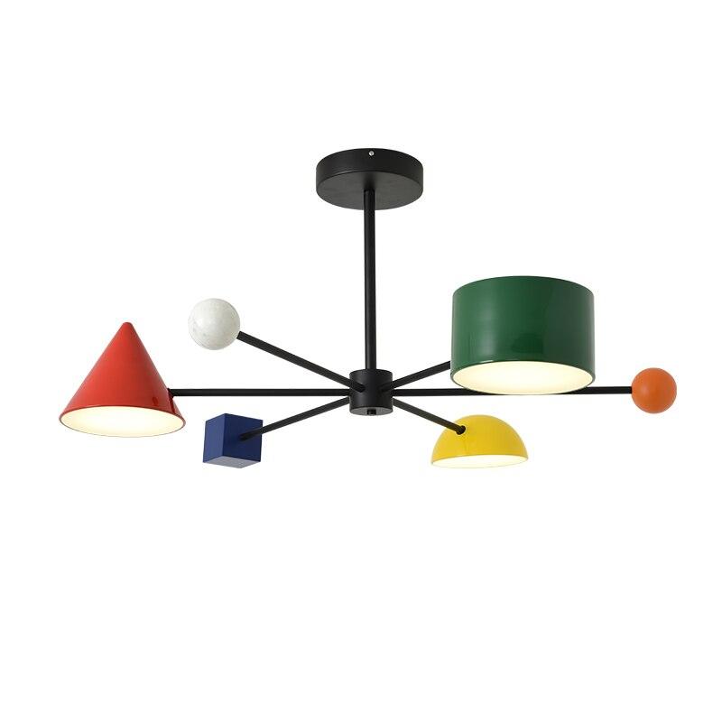 Image 2 - Artpad 30 Вт Светодиодная Подвесная лампа индивидуальная металлическая цветная детская комната геометрические блоки искусство тусклый 3 головки потолочные светильникиПодвесные светильники    АлиЭкспресс