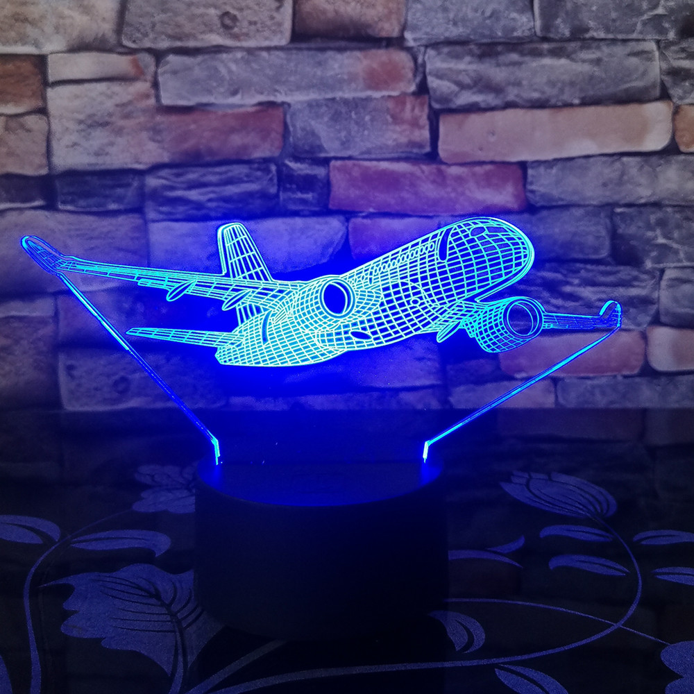 Boeing War Plane Fighter-Aircraft 3D Night Lights Table Lamp Multi Colors Military Jet Plane With USB Power Decor Gift