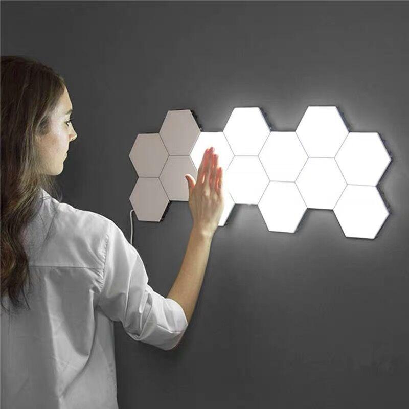 Moderna Lampada Da Parete A LED per bambini lampada A Nido D'ape Montaggio Modulare Helios Touch Lampade Da Parete Quantum bambini Lampada Magnetica di arte Della Parete di Luce