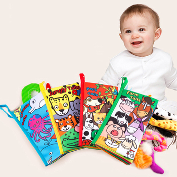 Infant Baby Book Educational Toys 3D Animal Tail Cloth Book For Kids Newborn Soft Fabric Activity Quiet Children Books 3+ Months