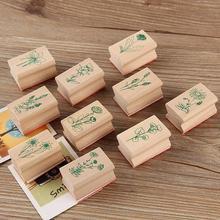 10Pcs DIY Vintage Plant Wooden Stamps Card Scrapbooking Photo Albums Decoration