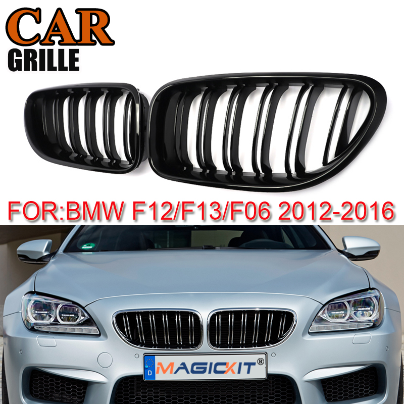 MagicKit Pair Gloss Black Front Kidney Grill Bumper Grill Double Slat Line for BMW 6 Series F06 F12 F13 M6 2012-2016 Car Styling image