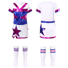 Girls Student Cheerleader Uniform Dance Performance Suit Short Sleeve Patchwork Top Stars Skirt with Built-in Shorts Stockings