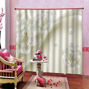 Customized 3d Curtain Clear And Simple White Flowers Curtains 3d Digital Printing Curtains Decor