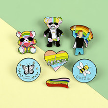 Rainbow Hip Hop Bear Pins Bee Butterfly Enamel Metal Pins Cartoon Brooches Badges Lapel Clothes Bag Pins Women Jewelry Gifts(China)
