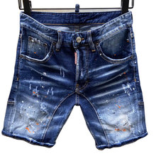 Vier Seizoen Jeans Dsq Mannen Model Shorts Brief Lederen Gat Hip Hop Punk Slim Fit Solid Elastische Italiaanse Pop(China)