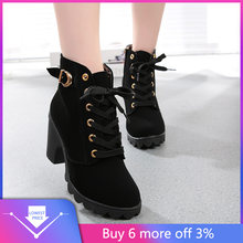 Schuh Heels Schwarz Hohe Pantoffel Frauen Mode Hot Winter Damen Mode High Heel Lace Up Ankle Stiefel Damen Schnalle Plattform schuhe(China)