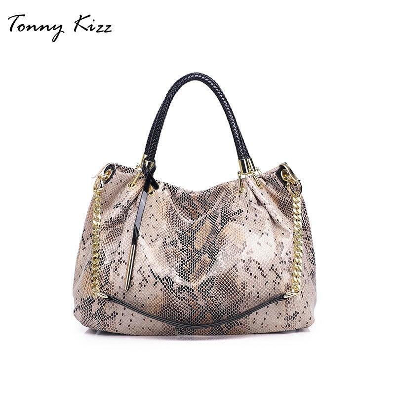 Tonny Kizz große handtasche frauen schulter taschen leder weibliche tote taschen mit serpentin prints damen snake print schulter tasche hobo