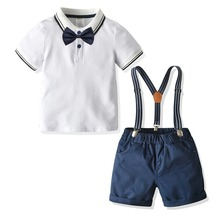 Cotton Boys Clothes Casual Turn-down Top + Shorts with Belt