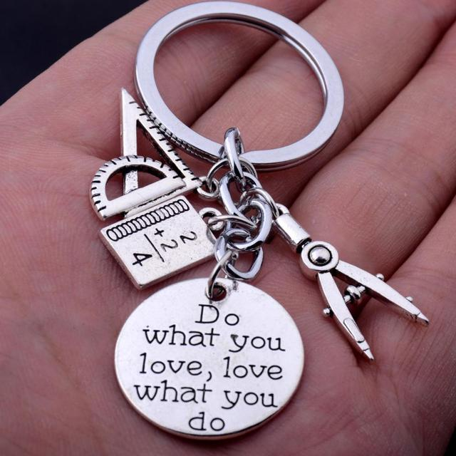 Compasses Triangle Ruler Math Book Charm Pendant Math Teachers Keyring Engraved Words Do What You Love Love What You Do Keychain