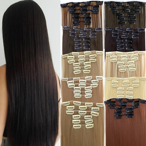 Synthetic Long clips in Hair extensions for women high tempature fiber hair pieces wig fake false accessories MUMUPI