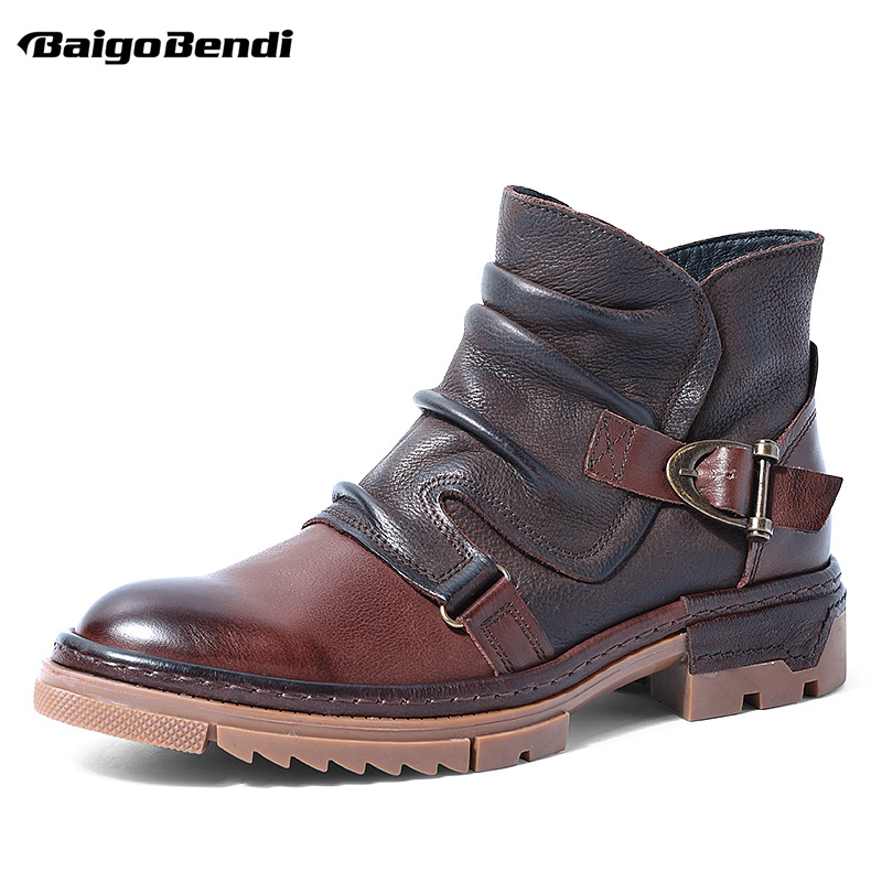 British Style Elegant Winter Boots Men Trendy Pleated Buckle Belt Boots Business Man Wrinkle Leather Boots