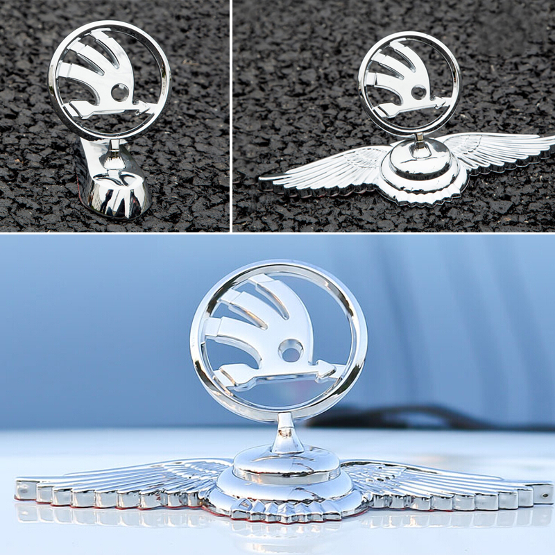 Car Front Bonnet Sticker For Skoda Superb 2 Rapid Kodiaq Fabia 1 Octivia RS A7 Karoq Citigo Yeti Kamiq Vision S Alloy 3d Emblem