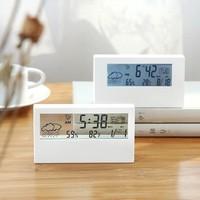 Elektronische Wekker Geruisloze Kalender Weer Temperatuur Vochtigheid Display Led Tafel Klok Met Usb Kabel Voor Woonkamer