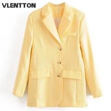 Женский винтажный пиджак на пуговицах однотонный с карманами