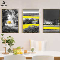 Black and White Autumn Landscape Posters Golden Rice Field Print Canvas Tram Painting Wall Art Picture Living Room Decoration