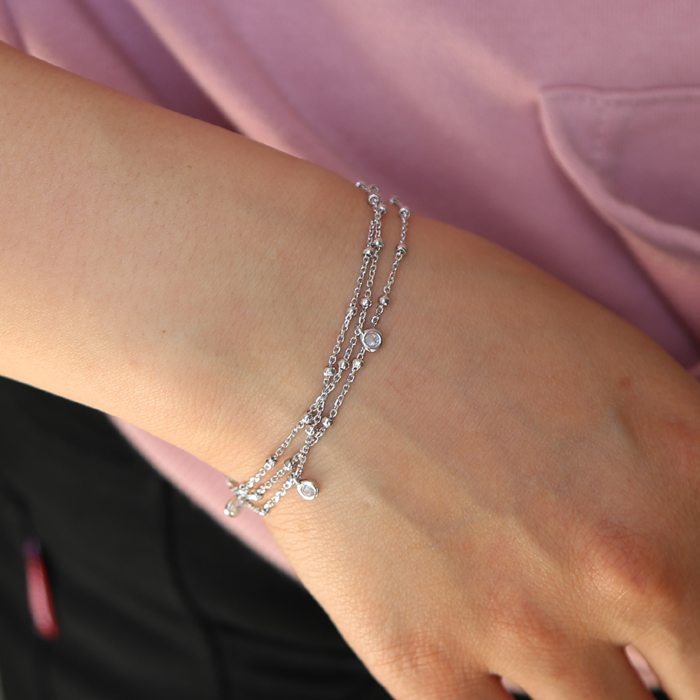 Triple Chain Cubic Zirconia Bracelet