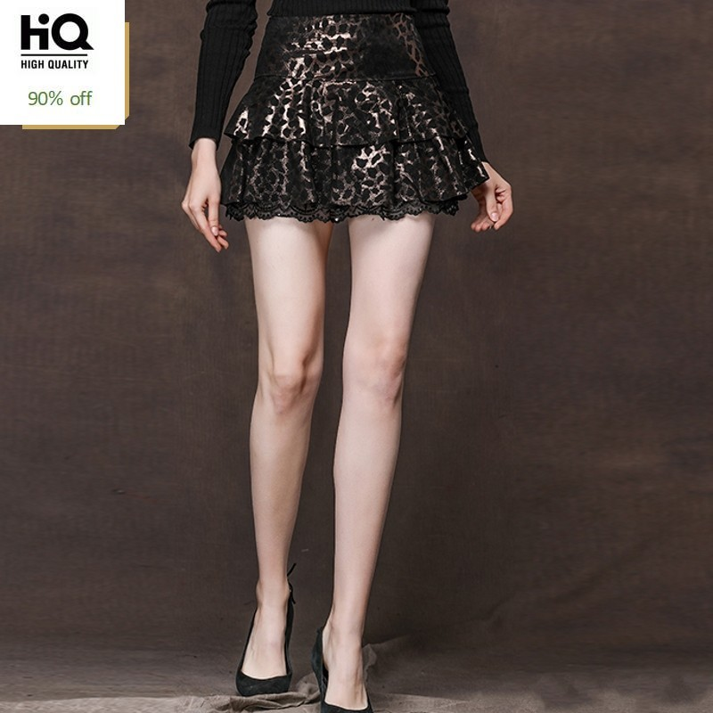 Office Lady Leopard Print Genuine Leather Skirts Women Lace Spliced Sexy Mini A-Line Skirts 2020 New High Waist Pleated Skirt