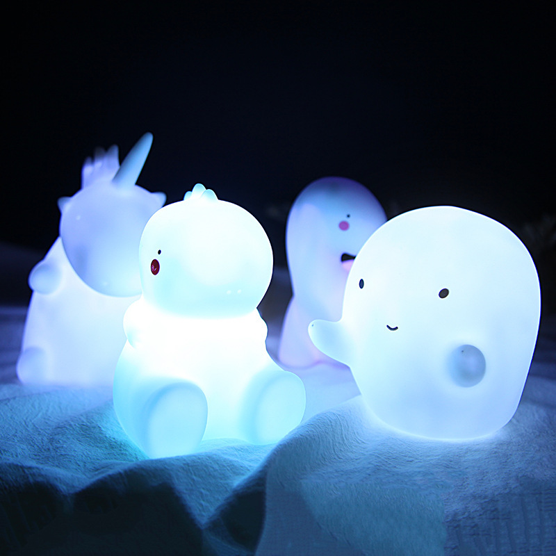 LED Night Light Cute Colorful Animal Baby Room Feeding Creative Dinosaur Toy Silicone Nursery Bedroom Table Kid Warm Glow Lamp