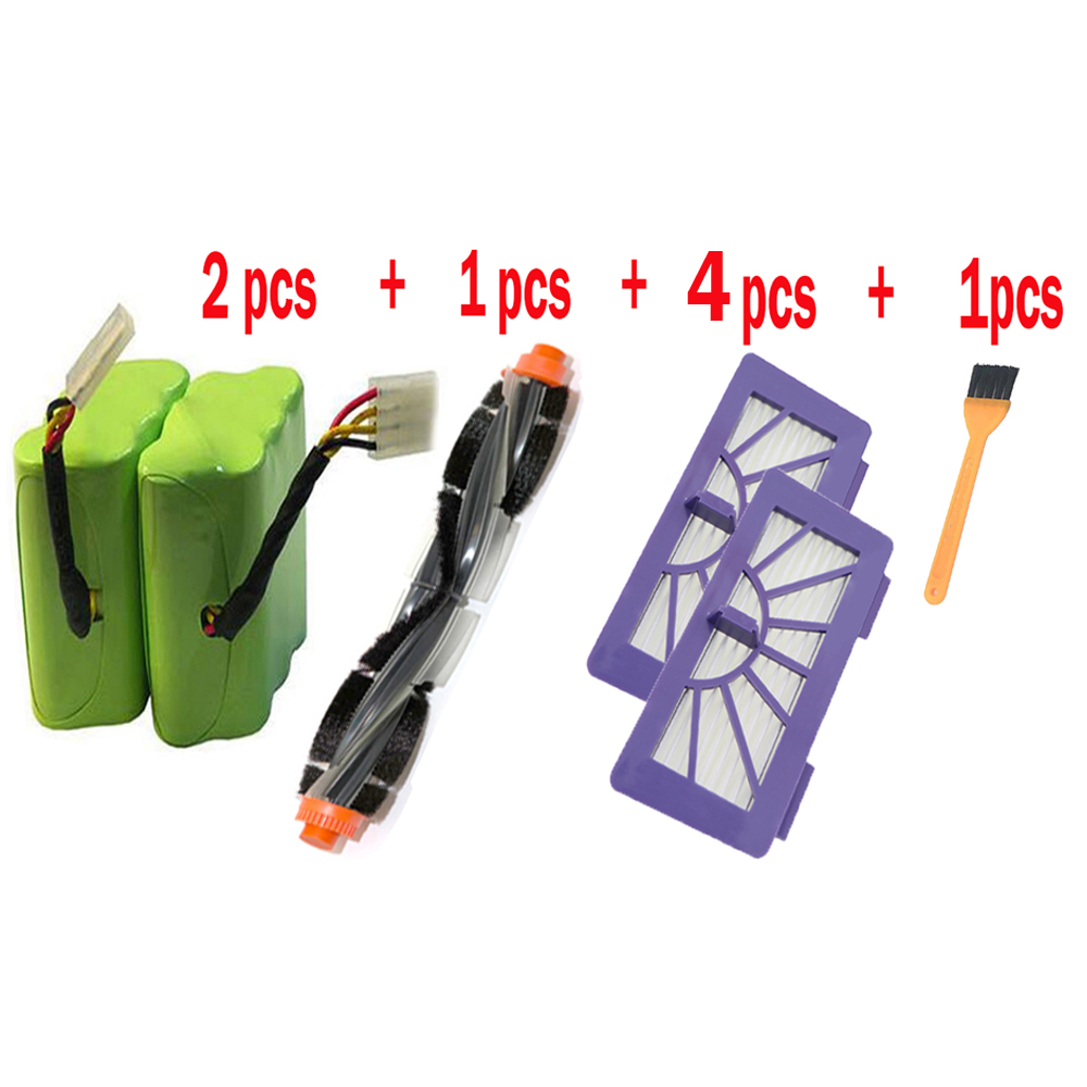 Battery + Curved Combo Roller Brushes + HEPA Filter Replacement For Neato XV-21 XV-11 XV-12 XV-15 Neato XV Series Vacuum Cleaner