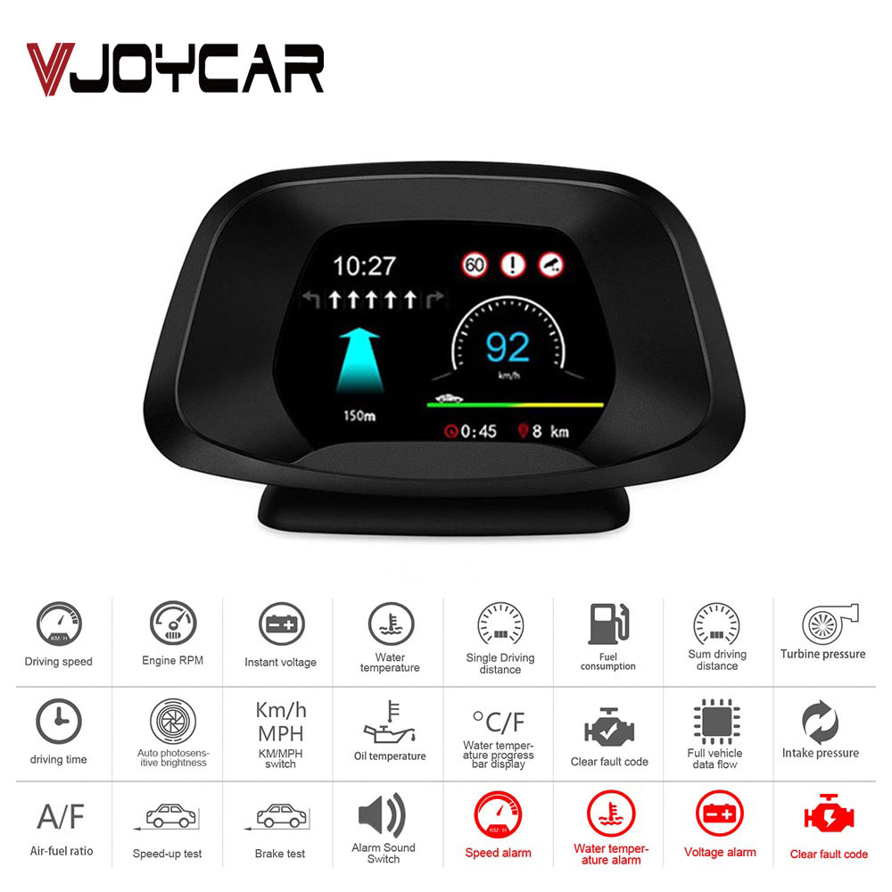 2020 Newest Head Up Display On-board Computer HUD OBD2+GPS Dual Mode GPS Speedometer RPM Oil & Water Temp. With Live Navigation